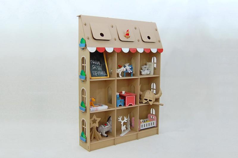 Стеллаж из картона для игрушек своими руками