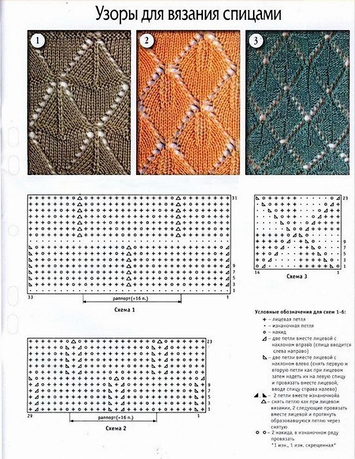 Простые схемы для вязания спицами с описанием  24