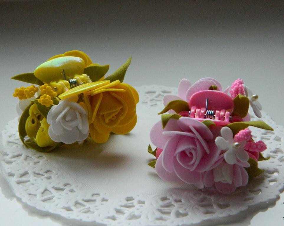 Цветы из фоамирана для заколки своими руками 62
