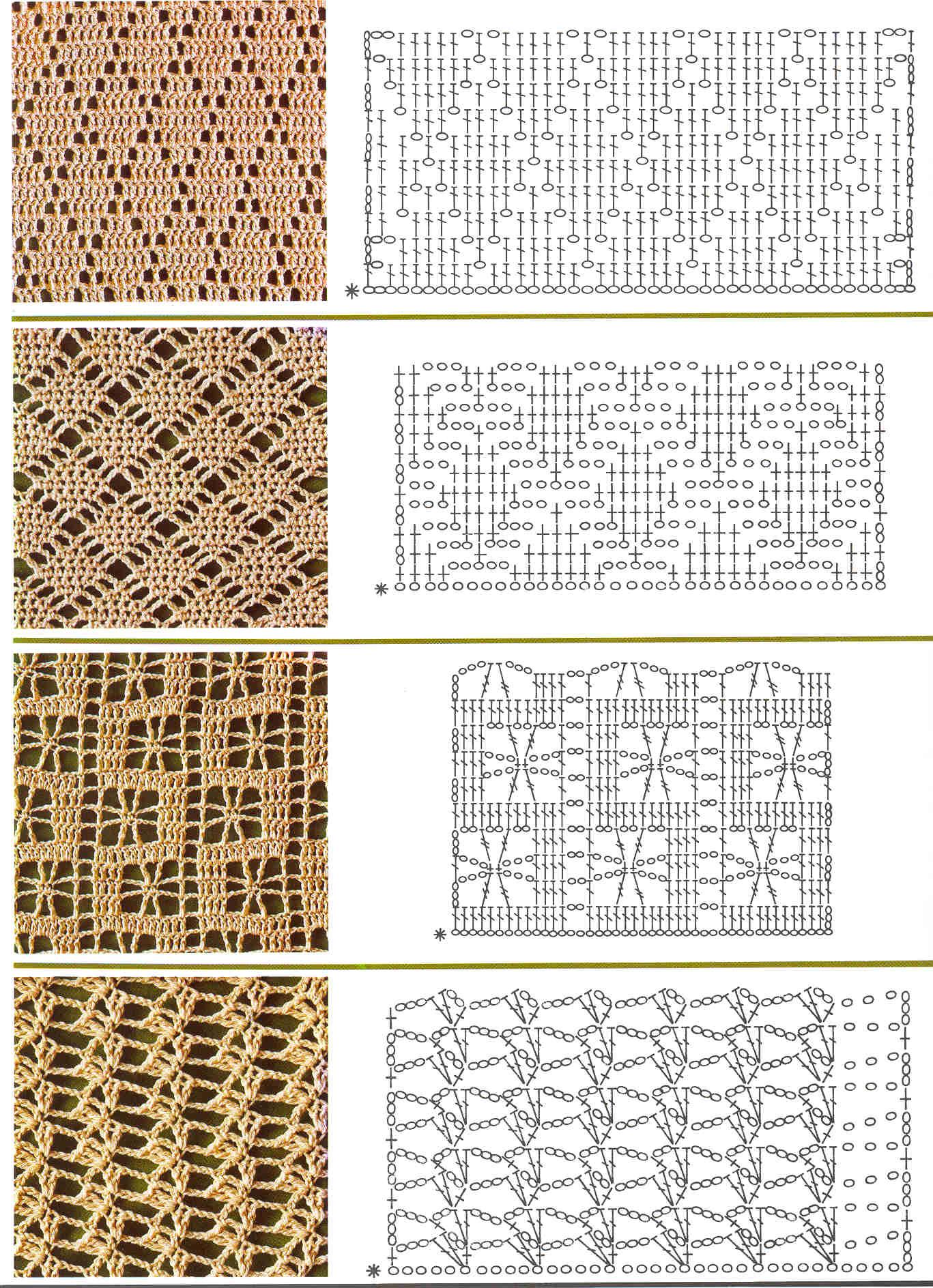 Схемы ажурных узоров вязанных крючком