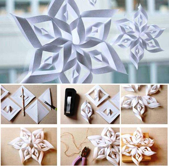 Новогодние игрушки своими руками из бумаги снежинка