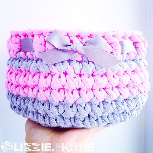 Трикотажная пряжа вязание крючком корзинки
