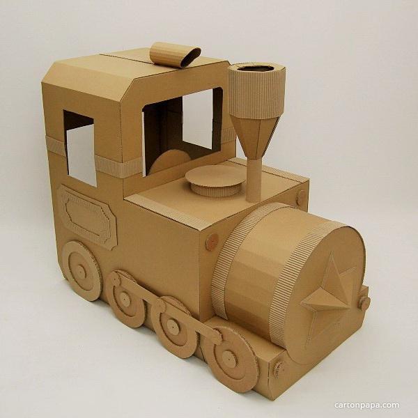 Сделать поезд из картона своими руками