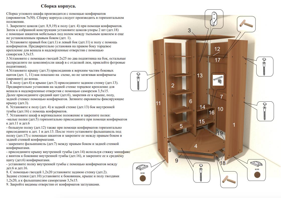 Собрать угловой шкаф своими руками инструкция