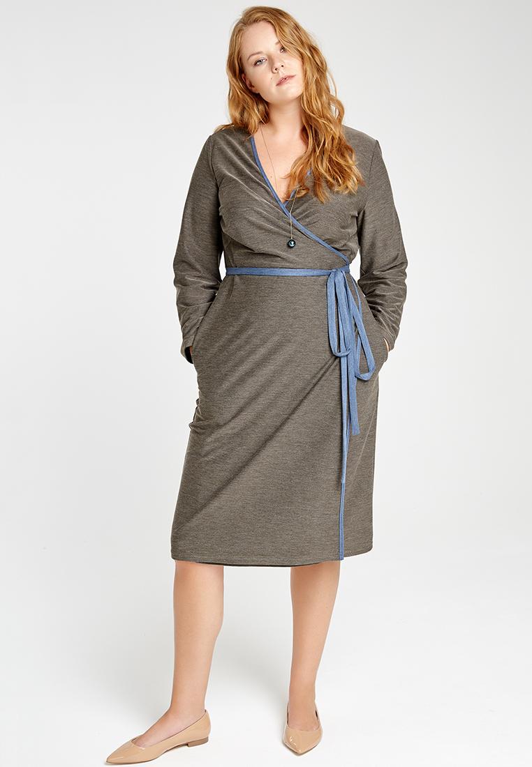 Платье с запахом LM-02 D05 15ФИНАЛЬНАЯ РАСПРОДАЖА<br>Платье с запахом из пластичного трикотажа, контрасным поясом и оторочкой. Полу-прилегающий силуэт, карманы, длина чуть ниже колена. Та самая волнующая простота. Прекрасно сочетается с любой обувью, можно носить с брюками или леггинсами, а также плотномы контарстными колготами. Рост модели на фото 179 см, размер - 52 российский.<br>