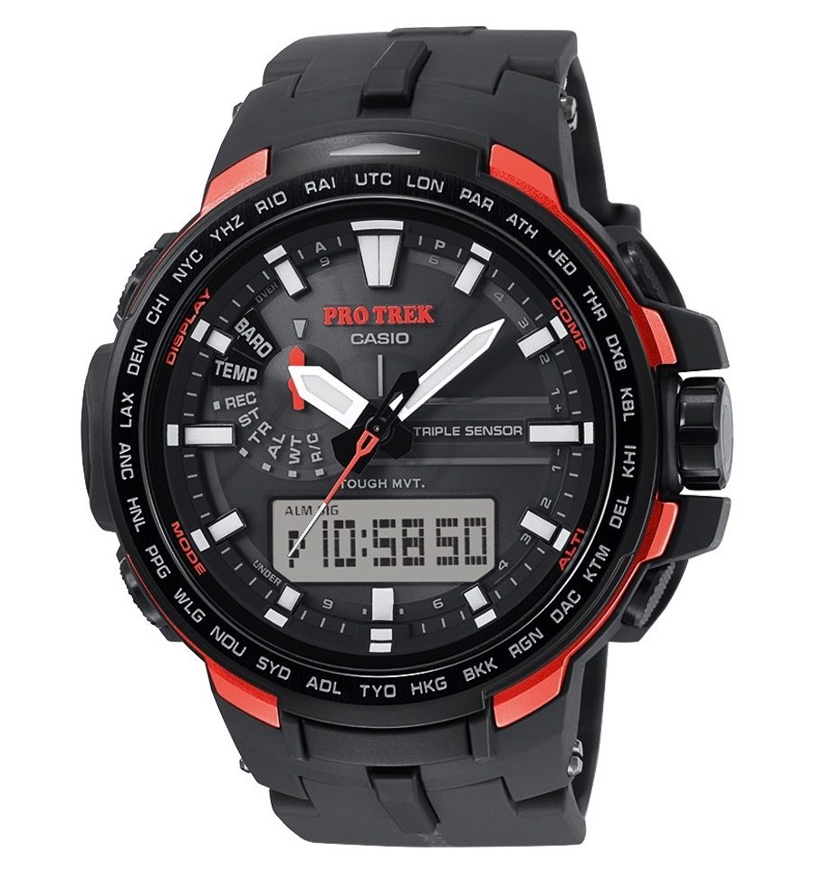 Casio Protrek PRW-6100Y-1E / PRW-6100Y-1ER - мужские наручные часыCasio<br><br><br>Бренд: Casio<br>Модель: Casio PRW-6100Y-1E<br>Артикул: PRW-6100Y-1E<br>Вариант артикула: PRW-6100Y-1ER<br>Коллекция: Protrek<br>Подколлекция: None<br>Страна: Япония<br>Пол: мужские<br>Тип механизма: кварцевые<br>Механизм: None<br>Количество камней: None<br>Автоподзавод: None<br>Источник энергии: от солнечной батареи<br>Срок службы элемента питания: None<br>Дисплей: стрелки + цифры<br>Цифры: отсутствуют<br>Водозащита: WR 100<br>Противоударные: None<br>Материал корпуса: нерж. сталь + пластик<br>Материал браслета: пластик<br>Материал безеля: None<br>Стекло: минеральное<br>Антибликовое покрытие: None<br>Цвет корпуса: None<br>Цвет браслета: None<br>Цвет циферблата: None<br>Цвет безеля: None<br>Размеры: 51.6x58x12.8 мм<br>Диаметр: None<br>Диаметр корпуса: None<br>Толщина: None<br>Ширина ремешка: None<br>Вес: 74 г<br>Спорт-функции: секундомер, таймер обратного отсчета, высотомер, барометр, термометр, компас<br>Подсветка: дисплея, стрелок<br>Вставка: None<br>Отображение даты: вечный календарь, число, день недели<br>Хронограф: None<br>Таймер: None<br>Термометр: None<br>Хронометр: None<br>GPS: None<br>Радиосинхронизация: None<br>Барометр: None<br>Скелетон: None<br>Дополнительная информация: ежечасный сигнал, функция сохранения энергии, функция включения/отключения звука кнопок, функция перемещения стрелок; работоспособность в полной темноте до 6 месяцев в обычном режиме и до 23 месяцев в режиме сохранения энергии<br>Дополнительные функции: индикатор запаса хода, второй часовой пояс, будильник (количество установок: 5)