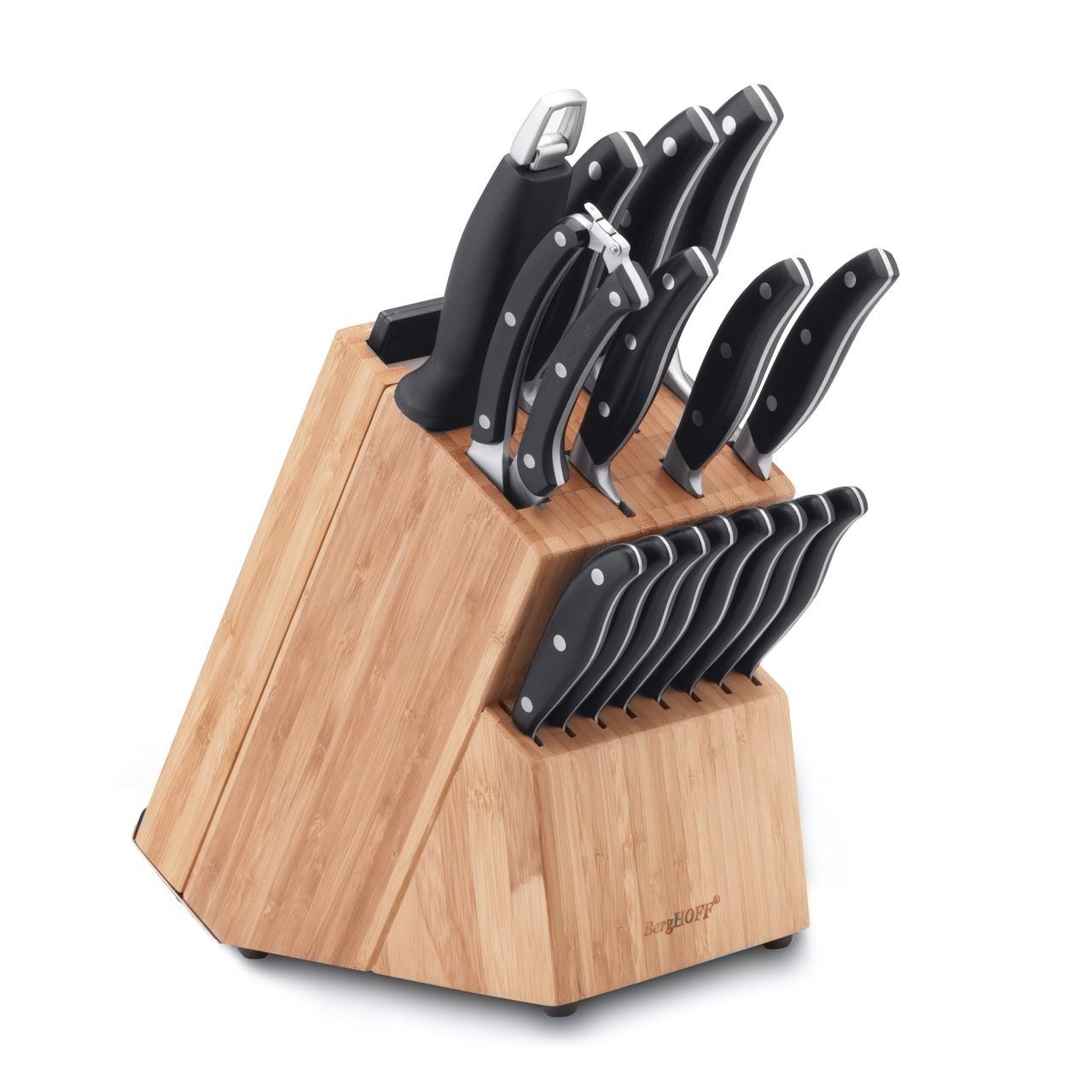 Набор ножей из 20 предметов BergHOFF Forget 1320014Наборы однослойных ножей (от-2300руб.)<br>Набор ножей из 20 предметов BergHOFF Forget 1320014<br><br>Состав набора:1x нож для очистки 8 cm8x ножи для стейка 12 cm1x универсальный нож 12,5 cm1x нож Сантоку 12,5 cm1x нож Сантоку 18 cm1x нож для хлеба 20 cm1x поварской нож 20 cm1x мусат 20 cm1x ножницы для разделки птицы 24,5 cm1x бамбуковая разделочная доска1x Полипропиленовая (Полипропилен) разделочная доска черная1x Полипропиленовая (Полипропилен) разделочная доска белая1x деревянная колода<br><br>Универсальный набор ножей для всех кулинарных задач.Нож для очистки - маленький и легкий, с прямой режущей кромкой. Это по-настоящему универсальный нож, идеальный для очистки и других мелких работ. Часто используется для очистки фруктов и овощей, которые можно держать в руках. Если другие ножи используются на кухне для приготовления ингредиентов, ножи для стейка пригодятся уже за столом, когда стейк или другие мясные блюда уже готовы. Универсальный нож идеален для всех нарезочных работ, требующих точности. Нож Сантоку - нож в азиатском стиле с прямой кромкой лезвия. Это универсальный нож для различных кухонных работ. Широкое лезвие подходит и для некоторых специфических задач, таких как раздавливание чеснока и сбор нарезанных ингредиентов на лезвие. Нож для хлеба - большой нож с зубчатым лезвием. Используется для нарезания продуктов, твердых снаружи и мягких внутри, таких как хлеб и другая выпечка. Также может использоваться для нарезания томатов. Поварской нож - самый используемый на кухне. Загнутое кверху лезвие позволяет раскачивать нож во время нарезки на разделочной доске. Благодаря широкому и тяжелому лезвию также подходит для легких разрубочных работ. Острый нож безопасней, поскольку не нужно применять силу для нарезки. Это необходимый инструмент, чтобы сохранять ваши ножи острыми. Ножницы для разделки птицы специально разработаны, чтобы прорезать кости, куриную кожу и другие жесткие материалы. Они могут быть исполь