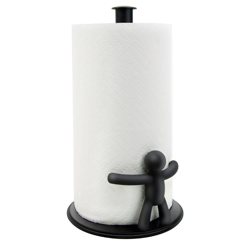 Держатель бумажных полотенец Umbra buddy черный 330280-040Держатели для полотенец<br>Держатель бумажных полотенец Umbra buddy черный 330280-040<br><br>Благодаря материалу, из которого изготовлен этот держатель, он прочно стоит на подставке - Вам не потребуется придерживать рулон салфеток рукой, чтобы оторвать нужный кусок. А веселый человечек - дополнительное украшение на Ваш стол.<br>Официальный продавец<br>