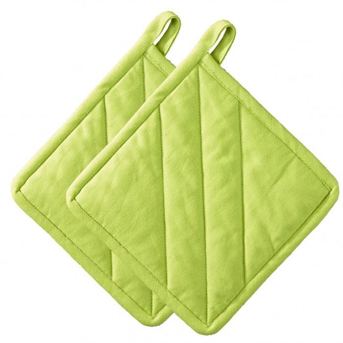 Набор из 2 прихваток 20х20см ZONE GOURMET CONFETTI 322124Скидки на товары для кухни<br>Пара прихваток из натурального органического хлопка сочного лаймового оттенка. Плотные и многослойные, они надежно защитят вашу кожу от жара и горячей посуды. Можно стирать в машине. Храните на крючке или в сложенном виде.<br>