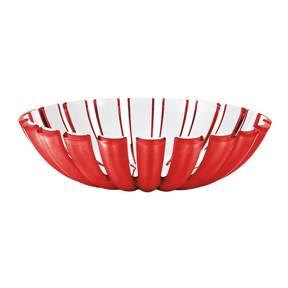 Блюдо глубокое Guzzini Grace красное 29740065Блюда<br>Блюдо глубокое Guzzini Grace красное 29740065<br><br>Главная особенность блюда Grace - его необычная форма, в которой внешние, объемные и прозрачные края контрастируют с белоснежной внутренней поверхностью. Вместе они образуют уникальный рельефный эффект, который усиливается на свету. Универсальное по характеру, блюдо отлично исполнит роль вазы для фруктов или хлебницы для пикника.   Изготовлено из безопасного пищевого пластика. Можно мыть в посудомоечной машине.<br>Официальный продавец<br>