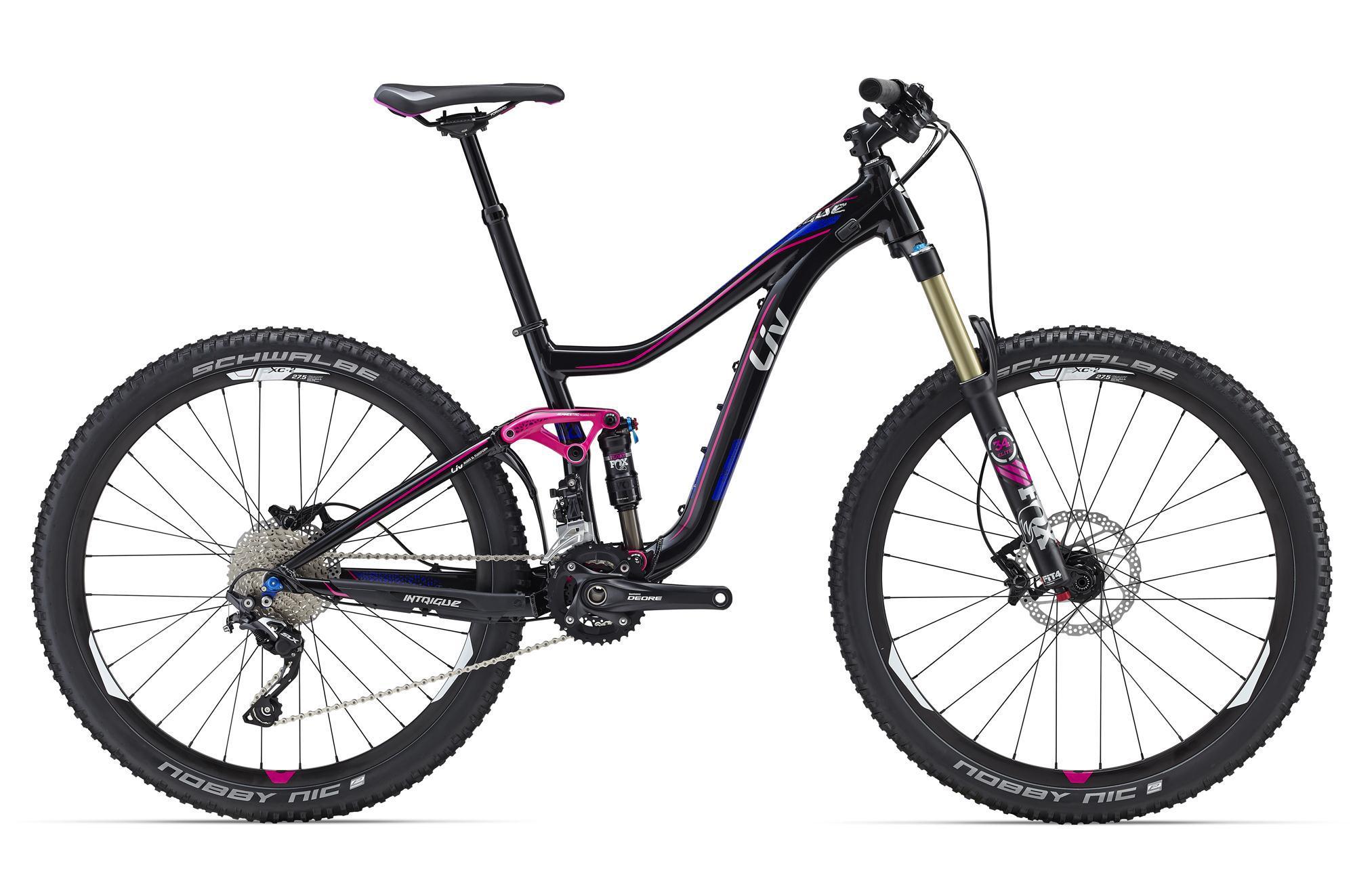 """Giant Intrigue 1 (2016)Горные<br>Когда вы чувствуете, что что-то стоит на пути между вами и более продвинутыми умениями, то, возможно, пора задуматься о новом велосипеде. Intrigue поможет раскрыть ваш велосипедный потенциал на техничных трейлах и новых сложных маршрутах. Разработанный специально для женщин, Intrigue изготавливается из алюминия ALUXX SL, обладающего очень низким весом при большом запасе прочности. Его специальная геометрия LIV позволяет девушкам чувствовать себя комфортно даже с большими колесами 27,5"""".<br>Плавность 140 мм хода подвески Maestro обеспечивает задний амортизатор Fox Float Performance DPS, это идеальный выбор для трейлового катания. Вилка Fox Float 34 Performance Elite имеет изменяемый ход 120/140 мм, что позволит приспособить ее к любым трассам, трансмиссия Shimano Deore/SLX 2x10 работает точно и безотказно и готова терпеть даже жесткое обращение.<br>Дисковые гидравлические тормоза с большой мощностью и отличной модуляцией помогут поверить в свои силы и развивать умения. А для комфорта на разнообразном рельефе на Intrigue 1 установлен регулируемый подседельный штырь Giant Contact SL Switch.<br>"""