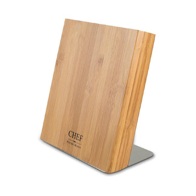 Подставка для ножей, бамбук, Chef, CH-002/BAMМагнитные держатели для ножей<br>Подставка для ножей CH-002/BAM от производителя Chefстанет практичным и полезным решением для кухни, она позволяет хранить до четырех ножей. Благодаря открытой конструкции изделия ножи всегда будут под рукой у кулинара. Данная модель произведена из натурального дерева, поэтому отличается повышенной экологичностью. <br>Подставка для ножей CH-002/BAM фиксирует ножи посредством встроенного магнита. Клинки ножей плотно прилегают к поверхности. Изделие помогает сохранить режущие свойства ножей в течение длительного времени. <br>Подставка для ножей CH-002/BAM не занимает много места на кухне и прекрасно дополняет дизайн любого интерьера.<br>