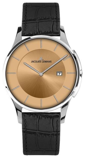 Jacques Lemans 1-1777J - мужские наручные часы из коллекции LondonJacques Lemans<br><br><br>Бренд: Jacques Lemans<br>Модель: Jacques Lemans 1-1777J<br>Артикул: 1-1777J<br>Вариант артикула: None<br>Коллекция: London<br>Подколлекция: None<br>Страна: Австрия<br>Пол: мужские<br>Тип механизма: кварцевые<br>Механизм: None<br>Количество камней: None<br>Автоподзавод: None<br>Источник энергии: от батарейки<br>Срок службы элемента питания: None<br>Дисплей: стрелки<br>Цифры: отсутствуют<br>Водозащита: WR 5<br>Противоударные: None<br>Материал корпуса: нерж. сталь<br>Материал браслета: кожа<br>Материал безеля: None<br>Стекло: Crystex<br>Антибликовое покрытие: None<br>Цвет корпуса: None<br>Цвет браслета: None<br>Цвет циферблата: None<br>Цвет безеля: None<br>Размеры: 38 мм<br>Диаметр: None<br>Диаметр корпуса: None<br>Толщина: None<br>Ширина ремешка: None<br>Вес: None<br>Спорт-функции: None<br>Подсветка: None<br>Вставка: None<br>Отображение даты: число<br>Хронограф: None<br>Таймер: None<br>Термометр: None<br>Хронометр: None<br>GPS: None<br>Радиосинхронизация: None<br>Барометр: None<br>Скелетон: None<br>Дополнительная информация: None<br>Дополнительные функции: None