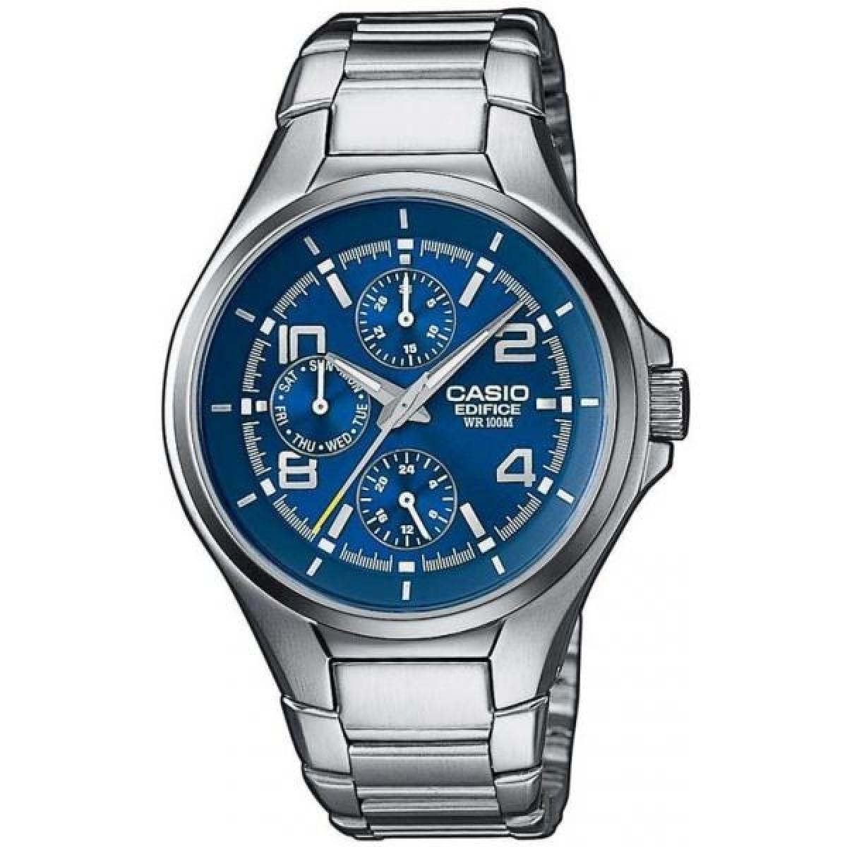 Casio Edifice EF-316D-2A / EF-316D-2AER - мужские наручные часыCasio<br><br><br>Бренд: Casio<br>Модель: Casio EF-316D-2A<br>Артикул: EF-316D-2A<br>Вариант артикула: EF-316D-2AER<br>Коллекция: Edifice<br>Подколлекция: None<br>Страна: Япония<br>Пол: мужские<br>Тип механизма: кварцевые<br>Механизм: None<br>Количество камней: None<br>Автоподзавод: None<br>Источник энергии: от батарейки<br>Срок службы элемента питания: None<br>Дисплей: стрелки<br>Цифры: арабские<br>Водозащита: WR 100<br>Противоударные: None<br>Материал корпуса: нерж. сталь<br>Материал браслета: не указан<br>Материал безеля: None<br>Стекло: минеральное<br>Антибликовое покрытие: None<br>Цвет корпуса: None<br>Цвет браслета: None<br>Цвет циферблата: None<br>Цвет безеля: None<br>Размеры: 40.5x48x9 мм<br>Диаметр: None<br>Диаметр корпуса: None<br>Толщина: None<br>Ширина ремешка: None<br>Вес: None<br>Спорт-функции: None<br>Подсветка: стрелок<br>Вставка: None<br>Отображение даты: число, день недели<br>Хронограф: None<br>Таймер: None<br>Термометр: None<br>Хронометр: None<br>GPS: None<br>Радиосинхронизация: None<br>Барометр: None<br>Скелетон: None<br>Дополнительная информация: суточник<br>Дополнительные функции: None