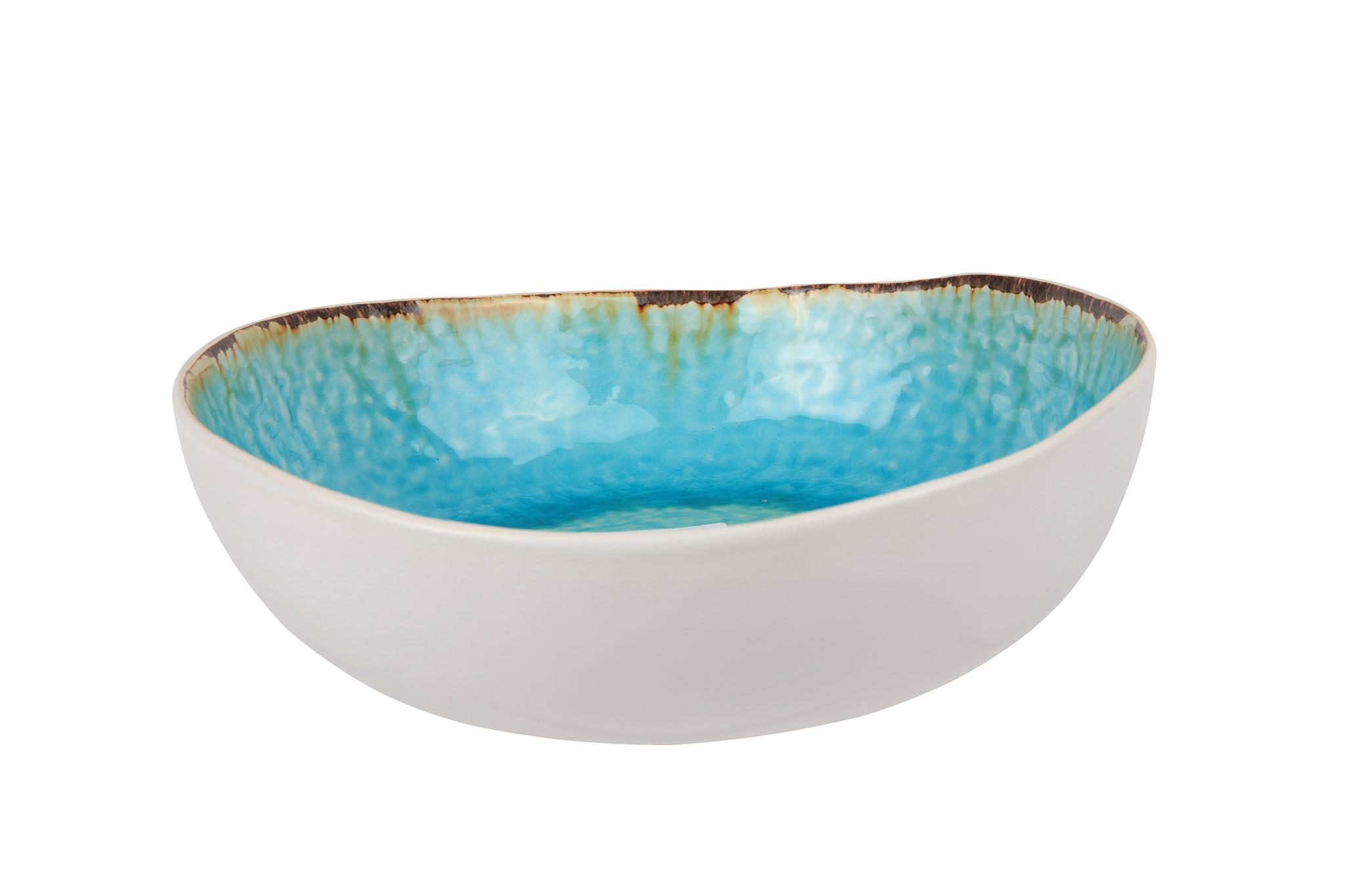 Миска для салата 21х20х6,5 см COSY&amp;TRENDY Laguna azzuro 3155606Салатники<br>Миска для салата 21х20х6,5 см COSY&amp;TRENDY Laguna azzuro 3155606<br><br>Эта коллекция из каменной керамики поражает удивительным цветом, текстурой и формой. Ярко-голубой оттенок с волнистым рельефом погружают в райскую лагуну. Органические края для дополнительного дизайна. Коллекция Laguna Azzuro воссоздает исключительный внешний вид приготовленных блюд.<br>
