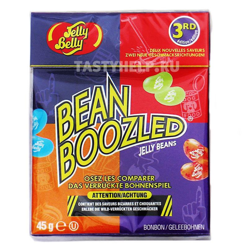 Bean Boozled Jelly Belly (45 гр.)Bean Boozled<br>Хочешь повеселиться? Тогда скорее покупай Bean Boozled (Бин Бузлд) для всей компании!<br>В коробке представлены самые вкусные и самые мерзкие вкусы, которые кондитеры умудрились передать очень точно. Что тебя ожидает на этот раз – тутти-фрутти или протухшее яйцо? А может тебя ждет сочный персик или рвота?<br>Пара конфет внешне ничем не отличается, ни цветом, ни запахом. Ты не узнаешь вкус, пока не откусишь! Игра опасная и веселая ;)<br>20 непредсказуемых вкусов в одной коробке для тебя и твоих друзей подарят нескончаемое веселье, и сделают вечер по-настоящему магическим!<br>Покупай Bean Boozled, погружайся в лабиринт неожиданных ярких вкусов.<br><br>Какие вкусы?<br><br>Тутти-фрутти или грязные носки<br>Лайм или свежескошенный газон<br>Попкорн с маслом или протухшее яйцо<br>Голубика или Зубная паста<br>Персик или рвота<br>Шоколадный пудинг или собачий корм<br>Сочная груша или сопли<br>Кокос или детский подгузник<br><br>Что внутри: Конфеты Jelly belly Bean boozled<br>Вес: 45 г.<br>Хочешь конфеты Гарри Поттера? Вот они!<br>