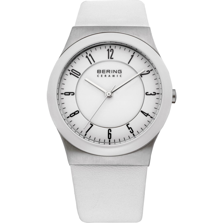 Bering 32235-000 - женские наручные часы из коллекции CeramicBering<br>сапфировое стекло, корпус из нерж. стали с безелем из керамики белого цвета,  ремешок из кожи теленка белого цвета, циферблат белого цвета, центральная секундная стрелка<br><br>Бренд: Bering<br>Модель: Bering 32235-000<br>Артикул: 32235-000<br>Вариант артикула: ber-32235-000<br>Коллекция: Ceramic<br>Подколлекция: None<br>Страна: Дания<br>Пол: женские<br>Тип механизма: кварцевые<br>Механизм: None<br>Количество камней: None<br>Автоподзавод: None<br>Источник энергии: от батарейки<br>Срок службы элемента питания: None<br>Дисплей: стрелки<br>Цифры: арабские<br>Водозащита: WR 50<br>Противоударные: None<br>Материал корпуса: нерж. сталь + керамика<br>Материал браслета: кожа<br>Материал безеля: None<br>Стекло: сапфировое<br>Антибликовое покрытие: None<br>Цвет корпуса: None<br>Цвет браслета: None<br>Цвет циферблата: None<br>Цвет безеля: None<br>Размеры: 35 мм<br>Диаметр: None<br>Диаметр корпуса: None<br>Толщина: None<br>Ширина ремешка: None<br>Вес: None<br>Спорт-функции: None<br>Подсветка: None<br>Вставка: None<br>Отображение даты: None<br>Хронограф: None<br>Таймер: None<br>Термометр: None<br>Хронометр: None<br>GPS: None<br>Радиосинхронизация: None<br>Барометр: None<br>Скелетон: None<br>Дополнительная информация: None<br>Дополнительные функции: None