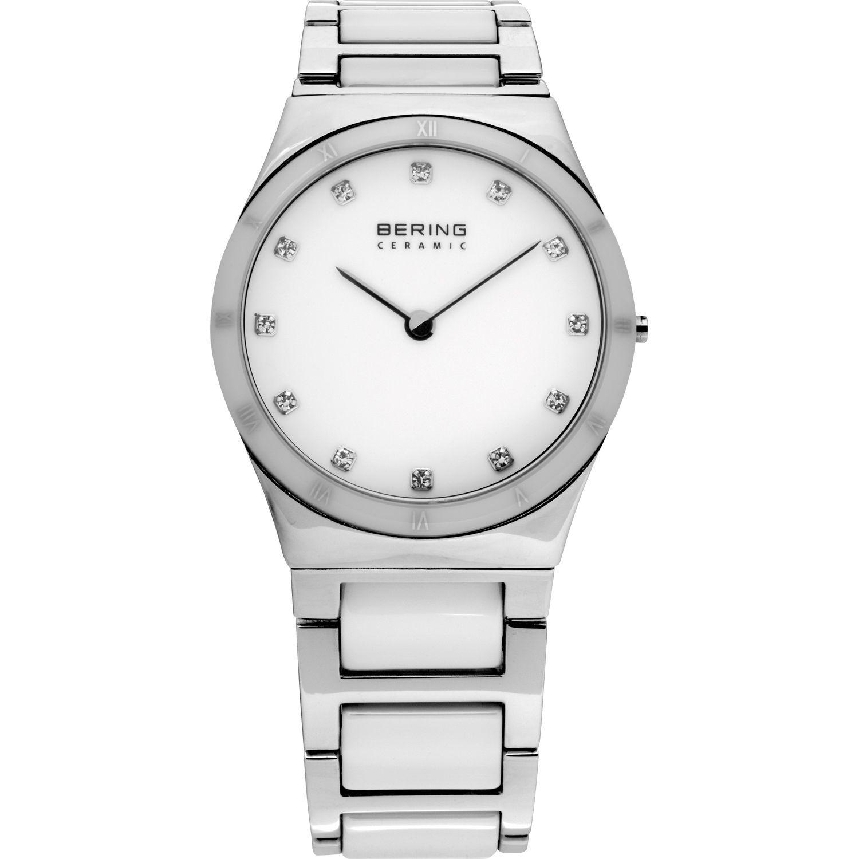 Bering 32230-764 - женские наручные часы из коллекции CeramicBering<br>женские, сапфировое стекло, корпус из нерж. стали с безелем из керамики белого цвета,  браслет из нерж. стали со вставками из керамики белого цвета, циферблат белого цвета с 12-ю кристаллами  swarovski<br><br>Бренд: Bering<br>Модель: Bering 32230-764<br>Артикул: 32230-764<br>Вариант артикула: ber-32230-764<br>Коллекция: Ceramic<br>Подколлекция: None<br>Страна: Дания<br>Пол: женские<br>Тип механизма: кварцевые<br>Механизм: None<br>Количество камней: None<br>Автоподзавод: None<br>Источник энергии: от батарейки<br>Срок службы элемента питания: None<br>Дисплей: стрелки<br>Цифры: римские<br>Водозащита: WR 50<br>Противоударные: None<br>Материал корпуса: нерж. сталь + керамика<br>Материал браслета: нерж. сталь + керамика<br>Материал безеля: керамика<br>Стекло: сапфировое<br>Антибликовое покрытие: None<br>Цвет корпуса: серебристый<br>Цвет браслета: серебрянный<br>Цвет циферблата: None<br>Цвет безеля: белый<br>Размеры: 30 мм<br>Диаметр: 30 мм<br>Диаметр корпуса: None<br>Толщина: None<br>Ширина ремешка: None<br>Вес: None<br>Спорт-функции: None<br>Подсветка: None<br>Вставка: кристаллы Swarovski<br>Отображение даты: None<br>Хронограф: None<br>Таймер: None<br>Термометр: None<br>Хронометр: None<br>GPS: None<br>Радиосинхронизация: None<br>Барометр: None<br>Скелетон: None<br>Дополнительная информация: None<br>Дополнительные функции: None