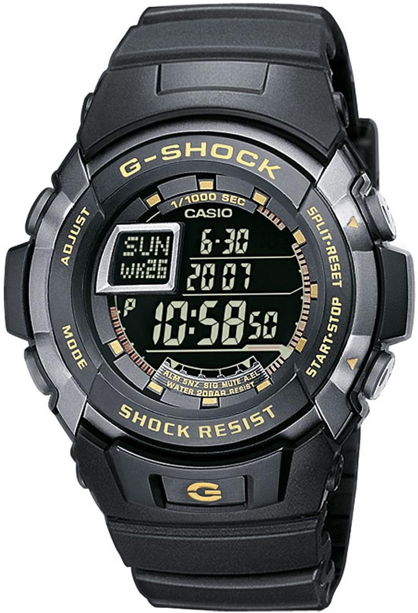 Casio G-SHOCK G-7710-1E / G-7710-1ER - мужские наручные часыCasio<br><br><br>Бренд: Casio<br>Модель: Casio G-7710-1E<br>Артикул: G-7710-1E<br>Вариант артикула: G-7710-1ER<br>Коллекция: G-SHOCK<br>Подколлекция: None<br>Страна: Япония<br>Пол: мужские<br>Тип механизма: кварцевые<br>Механизм: None<br>Количество камней: None<br>Автоподзавод: None<br>Источник энергии: от батарейки<br>Срок службы элемента питания: None<br>Дисплей: цифры<br>Цифры: None<br>Водозащита: WR 200<br>Противоударные: есть<br>Материал корпуса: нерж. сталь + пластик<br>Материал браслета: каучук<br>Материал безеля: None<br>Стекло: минеральное<br>Антибликовое покрытие: None<br>Цвет корпуса: None<br>Цвет браслета: None<br>Цвет циферблата: None<br>Цвет безеля: None<br>Размеры: 45.9x52.3x14.6 мм<br>Диаметр: None<br>Диаметр корпуса: None<br>Толщина: None<br>Ширина ремешка: None<br>Вес: 56 г<br>Спорт-функции: секундомер, таймер обратного отсчета<br>Подсветка: дисплея<br>Вставка: None<br>Отображение даты: вечный календарь, число, месяц, год, день недели<br>Хронограф: None<br>Таймер: None<br>Термометр: None<br>Хронометр: None<br>GPS: None<br>Радиосинхронизация: None<br>Барометр: None<br>Скелетон: None<br>Дополнительная информация: сигнал начала часа, повтор сигнала будильника<br>Дополнительные функции: второй часовой пояс, будильник (количество установок: 5)