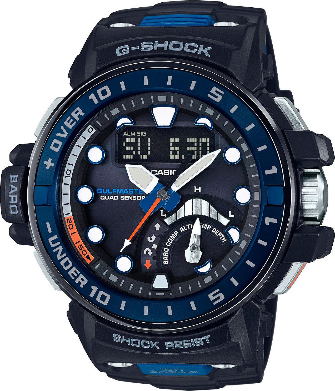 Casio G-SHOCK GWN-Q1000-1A / GWN-Q1000-1AER - мужские наручные часыCasio<br><br><br>Бренд: Casio<br>Модель: Casio GWN-Q1000-1A<br>Артикул: GWN-Q1000-1A<br>Вариант артикула: GWN-Q1000-1AER<br>Коллекция: G-SHOCK<br>Подколлекция: GULFMASTER<br>Страна: Япония<br>Пол: мужские<br>Тип механизма: кварцевые<br>Механизм: None<br>Количество камней: None<br>Автоподзавод: None<br>Источник энергии: от солнечной батареи<br>Срок службы элемента питания: 6 мес<br>Дисплей: стрелки + цифры<br>Цифры: отсутствуют<br>Водозащита: WR 200<br>Противоударные: есть<br>Материал корпуса: нерж. сталь + пластик, IP покрытие (частичное)<br>Материал браслета: пластик<br>Материал безеля: None<br>Стекло: сапфировое<br>Антибликовое покрытие: None<br>Цвет корпуса: None<br>Цвет браслета: None<br>Цвет циферблата: None<br>Цвет безеля: None<br>Размеры: 57.3x48x17 мм<br>Диаметр: None<br>Диаметр корпуса: None<br>Толщина: None<br>Ширина ремешка: None<br>Вес: 113 г<br>Спорт-функции: секундомер, таймер обратного отсчета, глубиномер, высотомер, барометр, термометр, компас<br>Подсветка: дисплея, стрелок<br>Вставка: None<br>Отображение даты: вечный календарь, число, месяц, день недели<br>Хронограф: есть<br>Таймер: None<br>Термометр: None<br>Хронометр: None<br>GPS: None<br>Радиосинхронизация: есть<br>Барометр: None<br>Скелетон: None<br>Дополнительная информация: отображение сведений о приливах и отливах, ежечасный сигнал, функция сохранения энергии, функция включения/отключения звука кнопок, функция перемещения стрелок; работоспособность в полной темноте до 21 месяцев в режиме сохранения энергии<br>Дополнительные функции: индикатор запаса хода, второй часовой пояс, указатель фаз Луны, время восхода и заката, будильник (количество установок: 5)