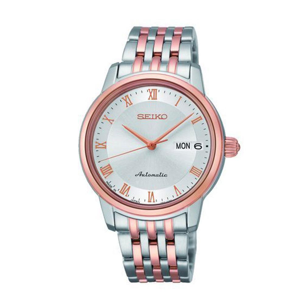 Наручные часы SeikoSeiko Presage<br>Непревзойдённая классика механических часов от SEIKO.Корпус: Сталь / PVD розового цвета. Браслет: Сталь/ PVD розового цвета. Сапфировое стекло. Задняя крышка открытая. Индикация даты и дня недели в одном окошке. Защита от воды 100 м.<br>