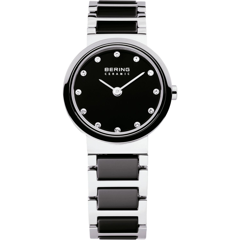 Bering 10725-742 - женские наручные часы из коллекции CeramicBering<br>женские, сапфировое стекло, корпус из нерж. стали с безелем из керамики черного цвета,  браслет из нерж. стали со вставками из керамики черного цвета, циферблат черного цвета с 12-ю кристаллами swarovski<br><br>Бренд: Bering<br>Модель: Bering 10725-742<br>Артикул: 10725-742<br>Вариант артикула: ber-10725-742<br>Коллекция: Ceramic<br>Подколлекция: None<br>Страна: Дания<br>Пол: женские<br>Тип механизма: кварцевые<br>Механизм: None<br>Количество камней: None<br>Автоподзавод: None<br>Источник энергии: от батарейки<br>Срок службы элемента питания: None<br>Дисплей: стрелки<br>Цифры: отсутствуют<br>Водозащита: WR 50<br>Противоударные: None<br>Материал корпуса: нерж. сталь + керамика<br>Материал браслета: нерж. сталь + керамика<br>Материал безеля: керамика<br>Стекло: сапфировое<br>Антибликовое покрытие: None<br>Цвет корпуса: серебристый<br>Цвет браслета: серебрянный<br>Цвет циферблата: None<br>Цвет безеля: черный<br>Размеры: 25 мм<br>Диаметр: 25 мм<br>Диаметр корпуса: None<br>Толщина: None<br>Ширина ремешка: None<br>Вес: None<br>Спорт-функции: None<br>Подсветка: None<br>Вставка: кристаллы Swarovski<br>Отображение даты: None<br>Хронограф: None<br>Таймер: None<br>Термометр: None<br>Хронометр: None<br>GPS: None<br>Радиосинхронизация: None<br>Барометр: None<br>Скелетон: None<br>Дополнительная информация: None<br>Дополнительные функции: None