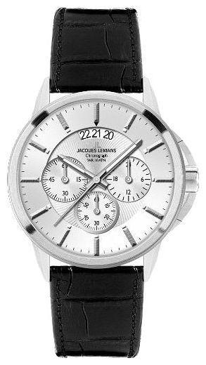Jacques Lemans 1-1542B - мужские наручные часы из коллекции SydneyJacques Lemans<br><br><br>Бренд: Jacques Lemans<br>Модель: Jacques Lemans 1-1542B<br>Артикул: 1-1542B<br>Вариант артикула: None<br>Коллекция: Sydney<br>Подколлекция: None<br>Страна: Австрия<br>Пол: мужские<br>Тип механизма: кварцевые<br>Механизм: None<br>Количество камней: None<br>Автоподзавод: None<br>Источник энергии: от батарейки<br>Срок службы элемента питания: None<br>Дисплей: стрелки<br>Цифры: отсутствуют<br>Водозащита: WR 100<br>Противоударные: None<br>Материал корпуса: нерж. сталь<br>Материал браслета: кожа<br>Материал безеля: None<br>Стекло: минеральное<br>Антибликовое покрытие: None<br>Цвет корпуса: None<br>Цвет браслета: None<br>Цвет циферблата: None<br>Цвет безеля: None<br>Размеры: 42x42 мм<br>Диаметр: None<br>Диаметр корпуса: None<br>Толщина: None<br>Ширина ремешка: None<br>Вес: None<br>Спорт-функции: секундомер<br>Подсветка: стрелок<br>Вставка: None<br>Отображение даты: число<br>Хронограф: есть<br>Таймер: None<br>Термометр: None<br>Хронометр: None<br>GPS: None<br>Радиосинхронизация: None<br>Барометр: None<br>Скелетон: None<br>Дополнительная информация: None<br>Дополнительные функции: None