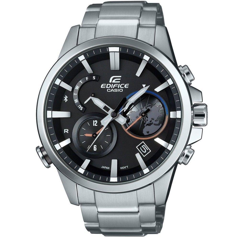 Casio Edifice EQB-600D-1A / EQB-600D-1AER - мужские наручные часыCasio<br><br><br>Бренд: Casio<br>Модель: Casio EQB-600D-1A<br>Артикул: EQB-600D-1A<br>Вариант артикула: EQB-600D-1AER<br>Коллекция: Edifice<br>Подколлекция: None<br>Страна: Япония<br>Пол: мужские<br>Тип механизма: кварцевые<br>Механизм: None<br>Количество камней: None<br>Автоподзавод: None<br>Источник энергии: от солнечной батареи<br>Срок службы элемента питания: None<br>Дисплей: стрелки<br>Цифры: отсутствуют<br>Водозащита: WR 100<br>Противоударные: None<br>Материал корпуса: нерж. сталь<br>Материал браслета: нерж. сталь<br>Материал безеля: None<br>Стекло: минеральное<br>Антибликовое покрытие: None<br>Цвет корпуса: None<br>Цвет браслета: None<br>Цвет циферблата: None<br>Цвет безеля: None<br>Размеры: 51,9х47,3мм, толщина 13,3мм<br>Диаметр: None<br>Диаметр корпуса: None<br>Толщина: None<br>Ширина ремешка: None<br>Вес: 170 г<br>Спорт-функции: секундомер<br>Подсветка: стрелок<br>Вставка: None<br>Отображение даты: вечный календарь, число, день недели<br>Хронограф: None<br>Таймер: None<br>Термометр: None<br>Хронометр: None<br>GPS: None<br>Радиосинхронизация: None<br>Барометр: None<br>Скелетон: None<br>Дополнительная информация: Bluetooth, авиарежим, функция сохранения энергии, работоспособность в полной темноте до 7 месяцев в обычном режиме и до 33 месяцев в режиме сохранения энергии<br>Дополнительные функции: индикатор запаса хода, второй часовой пояс, будильник