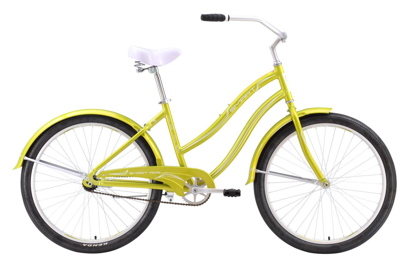 Smart Cruise Lady 300 (2016)Городские<br>Классический прогулочный женский велосипед Smart Cruise Lady 300 2016 – один из самых легких «круизеров» на рынке! Это простой и недорогой велосипед для прогулок по ровным городским и парковым дорожкам. Основа велосипеда: легкая алюминиевая рама (6061) классического дизайна, жесткая вилка способствует хорошему накату, а оптимальный уровень комфорта достигается благодаря широкому мягкому седлу, ровной посадке и удобным грипсам. Высококачественные колеса с двойными ободами и толстыми покрышками Kenda подарят плавность хода и хорошую управляемость. Торможение осуществляется при помощи ножного тормоза. Что радует – в стандартную комплектацию входят полноразмерные крылья для полной защиты от брыз и грязи на дороге, а защита от цепи не позволит штанине попасть в цепь или испачкать одежду. Стильный, легкий, удобный и доступный – велосипед Smart Cruise Lady 300 2016 – правильный выбор женского велосипеда для спокойного катания на каждый день!<br>