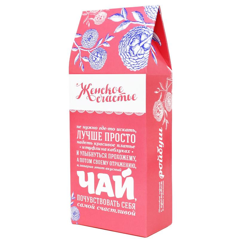 Чай зеленый байховый Бабушкин секрет «Женское счастье»  100 гр.Девушке<br>Вкусная помощь чай Бабушкин секрет «Женское счастье» – чай, обладающий благородным, узнаваем вкусом. В нем сочетается молодость весенних листьев и изысканность аристократической гостиной. Зеленый чай «Женское счастье» от Вкусной помощи – изумительный баланс легкости и гармонии. Положительно влияет на сохранение женской фигуры в хорошей форме.<br>Чай в оригинальной красочной упаковке – отличный подарок. Вручите его в подарок женщине, и вы покорите её сердце!<br>Где купить зеленый байховый чай?<br>Итак, вы желаете приобрести в подарок зеленый байховый чай Бабушкин секрет: где купить этот сорт? Где найти в Москве настоящий, полный пламенной энергии, высококлассный байховый чай, – и, желательно, по доступной цене?<br>Раскрываем тайну, где искать настоящий зеленый чай: купить этот аристократический напиток можно на сайте интернет-магазина «Вкусная помощь». Это отменный, с насыщенный вкусом, с драгоценным янтарным цветом весенний байховый чай с добавлением кусочков яблок, ананаса, ягод клубники, цветков хризантемы и лепестков календулы. Восхищает и оригинальная подарочная упаковка. Оцените её особенности, выбирая на нашем сайте чай «Женское счастье!<br>Как заваривать зеленый байховый чай?<br>Заваривают зеленый чай в фарфоровом чайнике, необходимо взять немного лепестков чая и залить их крутым кипятком. Заваривать его можно несколько раз, так как главное отличие от других видов чая в том, чем дольше его заваривают, тем более полезным он становится.<br>Что написано на упаковке: Не нужно где-то искать, лучше просто надеть красивое платье (и туфли на каблуках) и улыбнуться прохожему, а потом своему отражению, и заварив этот вкусный чай, почувствовать себя самой счастливой!<br>Что внутри: зеленый байховый чай Бабушкин секрет «Женское счастье» с добавлением кусочков яблок, ананаса, ягод клубники, цветков хризантемы, лепестков календулы, клубники и моркови. Напиток богат глюкозой, не содержит кофеина.<br>В