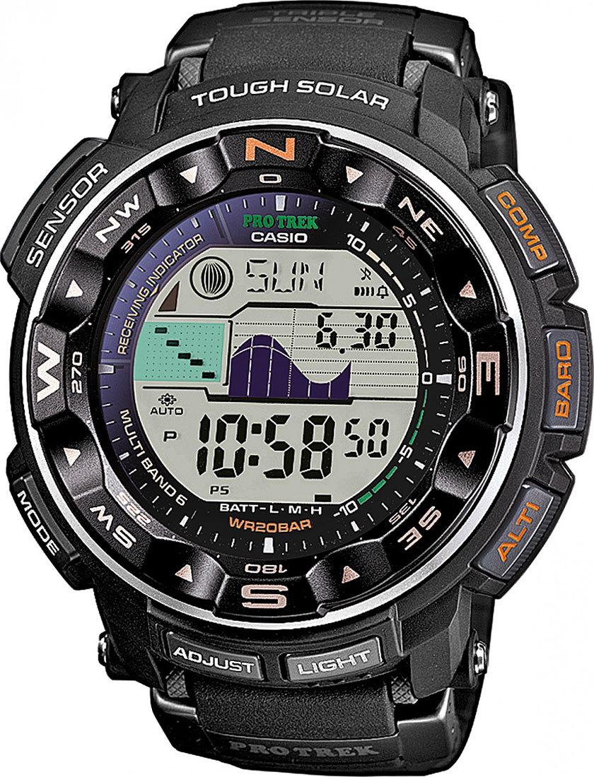Casio Protrek PRW-2500-1E / PRW-2500-1ER - мужские наручные часыCasio<br><br><br>Бренд: Casio<br>Модель: Casio PRW-2500-1E<br>Артикул: PRW-2500-1E<br>Вариант артикула: PRW-2500-1ER<br>Коллекция: Protrek<br>Подколлекция: None<br>Страна: Япония<br>Пол: мужские<br>Тип механизма: кварцевые<br>Механизм: None<br>Количество камней: None<br>Автоподзавод: None<br>Источник энергии: от солнечной батареи<br>Срок службы элемента питания: None<br>Дисплей: цифры<br>Цифры: None<br>Водозащита: WR 200<br>Противоударные: есть<br>Материал корпуса: нерж. сталь + пластик<br>Материал браслета: пластик<br>Материал безеля: None<br>Стекло: минеральное<br>Антибликовое покрытие: None<br>Цвет корпуса: None<br>Цвет браслета: None<br>Цвет циферблата: None<br>Цвет безеля: None<br>Размеры: 50.6x56.3x15 мм<br>Диаметр: None<br>Диаметр корпуса: None<br>Толщина: None<br>Ширина ремешка: None<br>Вес: 80.2 г<br>Спорт-функции: секундомер, таймер обратного отсчета, высотомер, барометр, термометр, компас<br>Подсветка: дисплея<br>Вставка: None<br>Отображение даты: вечный календарь, число, день недели<br>Хронограф: None<br>Таймер: None<br>Термометр: None<br>Хронометр: None<br>GPS: None<br>Радиосинхронизация: None<br>Барометр: None<br>Скелетон: None<br>Дополнительная информация: автоподсветка, графическое отображение сведений о приливах и отливах, функция включения/отключения звука, коррекция времени по радиосигналу (для России данная функция работает в дальневосточных областях и в Ленинградской области)<br>Дополнительные функции: индикатор запаса хода, второй часовой пояс, указатель фаз луны, будильник (количество установок: 5)