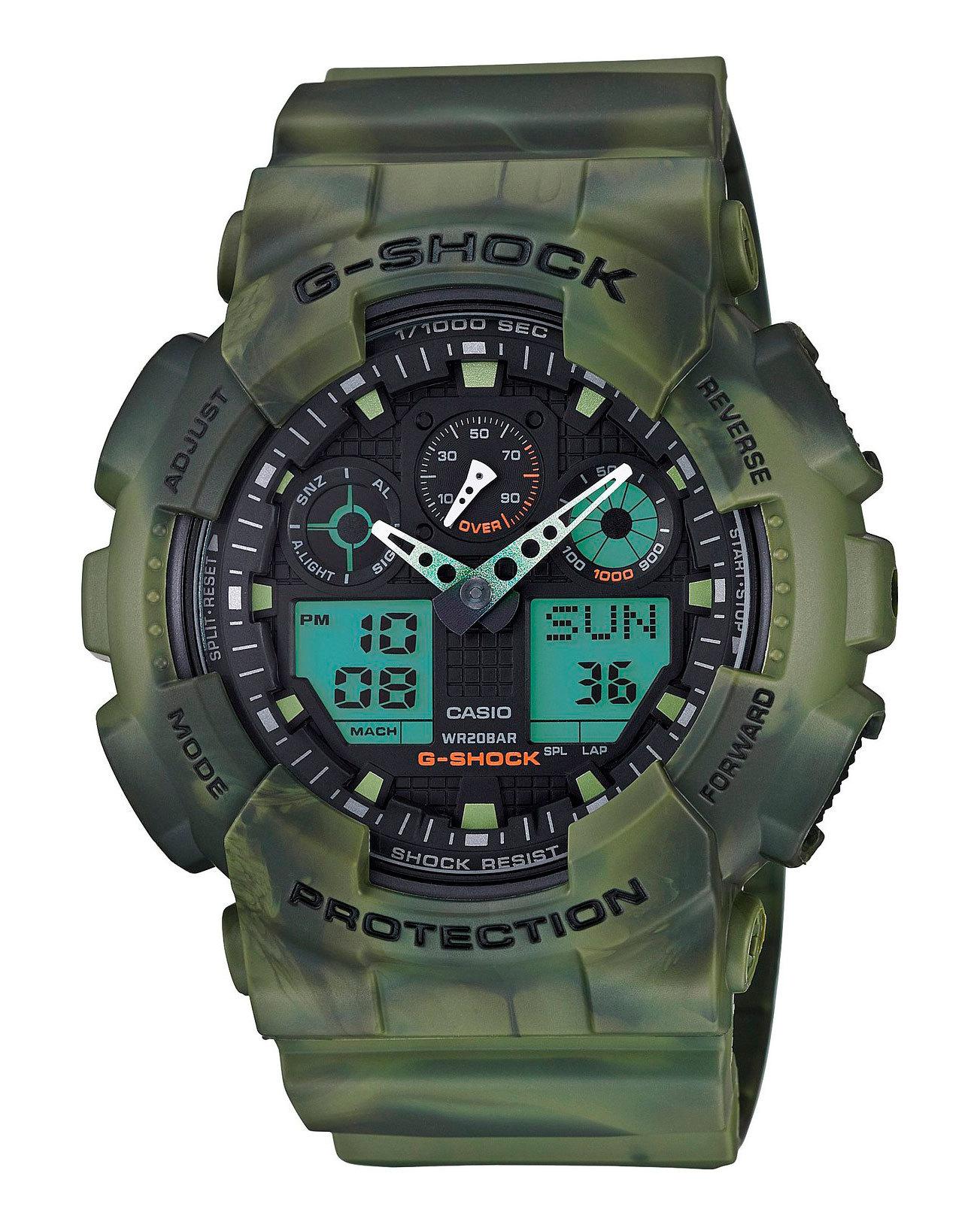 Casio G-SHOCK GA-100MM-3A / GA-100MM-3AER - мужские наручные часыCasio<br><br><br>Бренд: Casio<br>Модель: Casio GA-100MM-3A<br>Артикул: GA-100MM-3A<br>Вариант артикула: GA-100MM-3AER<br>Коллекция: G-SHOCK<br>Подколлекция: None<br>Страна: Япония<br>Пол: мужские<br>Тип механизма: кварцевые<br>Механизм: None<br>Количество камней: None<br>Автоподзавод: None<br>Источник энергии: от батарейки<br>Срок службы элемента питания: None<br>Дисплей: стрелки + цифры<br>Цифры: отсутствуют<br>Водозащита: WR 200<br>Противоударные: есть<br>Материал корпуса: пластик<br>Материал браслета: пластик<br>Материал безеля: None<br>Стекло: минеральное<br>Антибликовое покрытие: None<br>Цвет корпуса: None<br>Цвет браслета: None<br>Цвет циферблата: None<br>Цвет безеля: None<br>Размеры: 51.2x55x16.9 мм<br>Диаметр: None<br>Диаметр корпуса: None<br>Толщина: None<br>Ширина ремешка: None<br>Вес: 71 г<br>Спорт-функции: секундомер, таймер обратного отсчета<br>Подсветка: дисплея<br>Вставка: None<br>Отображение даты: вечный календарь, число, месяц, день недели<br>Хронограф: None<br>Таймер: None<br>Термометр: None<br>Хронометр: None<br>GPS: None<br>Радиосинхронизация: None<br>Барометр: None<br>Скелетон: None<br>Дополнительная информация: автоподсветка, повтор сигнала будильника, ежечасный сигнал, защитная функция антимагнит, элемент питания CR1220, срок службы батарейки 2 года<br>Дополнительные функции: второй часовой пояс, будильник (количество установок: 5)