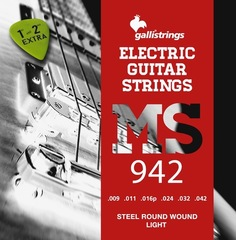 Струны для электрогитары гитары GALLISTRINGS STEEL ELECTRIC MS942 LIGHT
