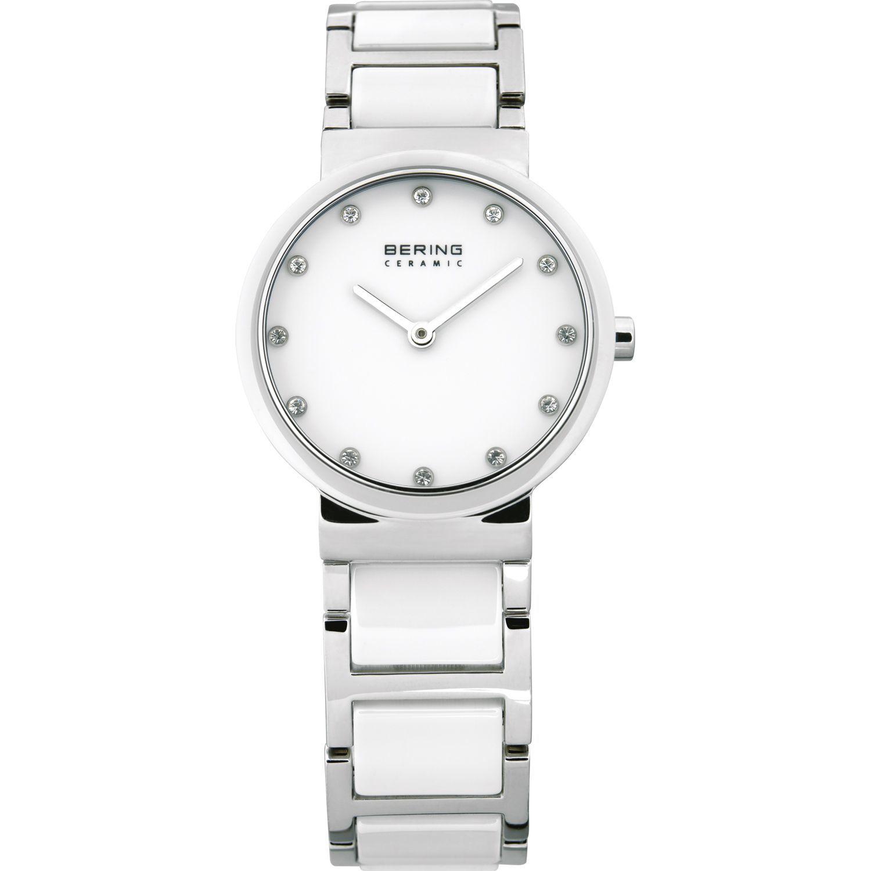 Bering 10729-754 - женские наручные часы из коллекции CeramicBering<br>женские, сапфировое стекло, корпус из нерж. стали с безелем из керамики белого цвета,  браслет из нерж. стали со вставками из керамики белого цвета, циферблат белого цвета с 12-ю кристаллами  swarovski<br><br>Бренд: Bering<br>Модель: Bering 10729-754<br>Артикул: 10729-754<br>Вариант артикула: ber-10729-754<br>Коллекция: Ceramic<br>Подколлекция: None<br>Страна: Дания<br>Пол: женские<br>Тип механизма: кварцевые<br>Механизм: None<br>Количество камней: None<br>Автоподзавод: None<br>Источник энергии: от батарейки<br>Срок службы элемента питания: None<br>Дисплей: стрелки<br>Цифры: отсутствуют<br>Водозащита: WR 50<br>Противоударные: None<br>Материал корпуса: нерж. сталь + керамика<br>Материал браслета: нерж. сталь + керамика<br>Материал безеля: керамика<br>Стекло: сапфировое<br>Антибликовое покрытие: None<br>Цвет корпуса: серебристый<br>Цвет браслета: серебрянный<br>Цвет циферблата: None<br>Цвет безеля: белый<br>Размеры: None<br>Диаметр: 29 мм<br>Диаметр корпуса: None<br>Толщина: None<br>Ширина ремешка: None<br>Вес: None<br>Спорт-функции: None<br>Подсветка: None<br>Вставка: кристаллы Swarovski<br>Отображение даты: None<br>Хронограф: None<br>Таймер: None<br>Термометр: None<br>Хронометр: None<br>GPS: None<br>Радиосинхронизация: None<br>Барометр: None<br>Скелетон: None<br>Дополнительная информация: None<br>Дополнительные функции: None