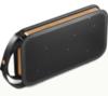 Портативная акустика Bang &amp; Olufsen BeoPlay A2Акустика<br>Портативную акустику Bang &amp; Olufsen BeoPlay A2 купить. Отзывы и обзор<br>Выбрать беспроводную акустическую систему Bang &amp; Olufsen BeoPlay A2, купить которую Вы можете у нас, стоит всем, кто ищет качественный объёмный звук. Колонку можно совместить буквально со всеми современными устройствами, подключив по Bluetooth 4.0. Гаджет имеет компактные размеры, вы сможете носить его с собой повсюду.<br><br>Качество звука<br>Благодаря портативной акустике Bang &amp; Olufsen BeoPlay A2, отзывы на которую Вы можете прочитать здесь, вы сможете наслаждаться насыщенным тёплым сбалансированным звуком, чистым вокалом и глубокими басами.<br>С помощью6 динамиков и усилителю D-класса (мощность 2х30 Вт) качество звучания тут наилучшее. Звук наполнен объемом, вне зависимости от месторасположения колонки.<br>Как подключить?<br>Смартфон, планшет, ноутбук – вы можете подключить акустику Bang &amp; Olufsen BeoPlay A2 буквально ко всем современным устройствам. Нажмите и удерживайте кнопку Bluetooth до тех пор, пока не увидите сияние синего светодиода. Выбирайте на подключаемом гаджете. Подключение выполнено. Система запоминает до 8 последних устройств и способна на одновременное подключение сразу двух из них. Именно поэтому стоит купить BeoPlay A2.<br><br>Заряд музыки<br>Встроенный литий-ионный аккумулятор позволяет воспроизводить музыку в течение 24 часов на средней громкости. Постоянная подзарядка не нужна. Полный заряд батареи потребует всего 3 часов. В комплекте идет специальное зарядное устройство. Возможна зарядка от USB.<br>Стиль и габариты<br>Корпус акустической системы выполнен из алюминия, динамики прикрывают перфорированные поликарбонатные крышки с тканевыми прокладками. Для удобства переноски в комплекте имеется кожаная ручка-ремешок.<br>Прочитайте отзывы на обзоре акустику Bang &amp; Olfusen Beoplay A2, чтобы составить объективное мнение о ней.У нас купить Bang &amp; Olfusen Beoplay A2 можно в чёрном цвете, сер