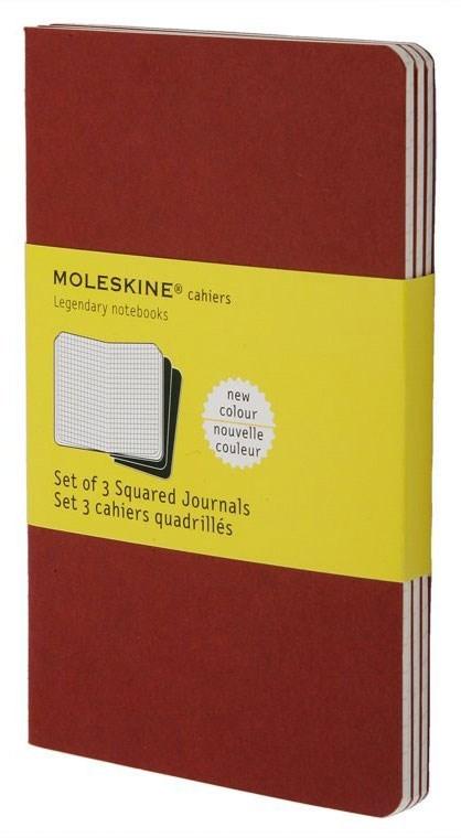 Набор 3 блокнота Moleskine Cahier Journal Pocket, цвет клюквенный, в клеткуMOLESKINE<br><br>