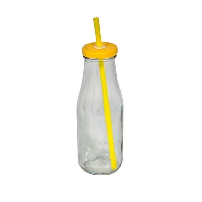 Стеклянная бутылка с крышкой и трубочкой желтая (Стекло Antic Line, Франция)Стекло Antic Line, Франция<br>Стеклянная бутылка с крышкой и трубочкой желтая<br>Стекло, металлическая крышка, пластиковая трубочка<br>Производитель: Antic Line, Франция<br>