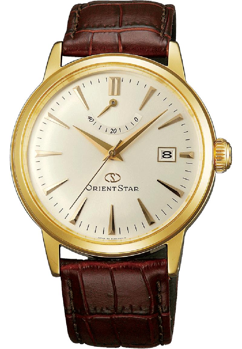 Orient EL05001S / SEL05001S0 - мужские наручные часыORIENT<br><br><br>Бренд: ORIENT<br>Модель: ORIENT EL05001S<br>Артикул: EL05001S<br>Вариант артикула: SEL05001S0<br>Коллекция: None<br>Подколлекция: None<br>Страна: Япония<br>Пол: мужские<br>Тип механизма: механические<br>Механизм: ORIENT caliber 40N52<br>Количество камней: 22<br>Автоподзавод: есть<br>Источник энергии: пружинный механизм<br>Срок службы элемента питания: None<br>Дисплей: стрелки<br>Цифры: отсутствуют<br>Водозащита: WR 50<br>Противоударные: None<br>Материал корпуса: нерж. сталь, покрытие: позолота (полное)<br>Материал браслета: кожа<br>Материал безеля: None<br>Стекло: минеральное<br>Антибликовое покрытие: None<br>Цвет корпуса: None<br>Цвет браслета: None<br>Цвет циферблата: None<br>Цвет безеля: None<br>Размеры: 38.5x13.1 мм<br>Диаметр: None<br>Диаметр корпуса: None<br>Толщина: None<br>Ширина ремешка: None<br>Вес: None<br>Спорт-функции: None<br>Подсветка: None<br>Вставка: None<br>Отображение даты: число<br>Хронограф: None<br>Таймер: None<br>Термометр: None<br>Хронометр: None<br>GPS: None<br>Радиосинхронизация: None<br>Барометр: None<br>Скелетон: None<br>Дополнительная информация: возможность ручного подзавода, прозрачная задняя крышка<br>Дополнительные функции: индикатор запаса хода