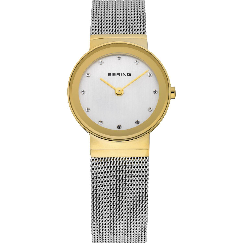 Bering 10126-001 - женские наручные часы из коллекции ClassicBering<br>женские,  сапфировое стекло, корпус из нерж. стали с покрытием pvd золотого цвета , браслет из нерж. стали, циферблат белого цвета с 12-ю кристаллами swarovski<br><br>Бренд: Bering<br>Модель: Bering 10126-001<br>Артикул: 10126-001<br>Вариант артикула: ber-10126-001<br>Коллекция: Classic<br>Подколлекция: None<br>Страна: Дания<br>Пол: женские<br>Тип механизма: кварцевые<br>Механизм: None<br>Количество камней: None<br>Автоподзавод: None<br>Источник энергии: от батарейки<br>Срок службы элемента питания: None<br>Дисплей: стрелки<br>Цифры: отсутствуют<br>Водозащита: WR 50<br>Противоударные: None<br>Материал корпуса: нерж. сталь, IP покрытие: позолота (полное)<br>Материал браслета: нерж. сталь<br>Материал безеля: None<br>Стекло: сапфировое<br>Антибликовое покрытие: None<br>Цвет корпуса: золотой<br>Цвет браслета: серебрянный<br>Цвет циферблата: None<br>Цвет безеля: None<br>Размеры: 26x6 мм<br>Диаметр: 26 мм<br>Диаметр корпуса: None<br>Толщина: None<br>Ширина ремешка: None<br>Вес: None<br>Спорт-функции: None<br>Подсветка: None<br>Вставка: кристаллы Swarovski<br>Отображение даты: None<br>Хронограф: None<br>Таймер: None<br>Термометр: None<br>Хронометр: None<br>GPS: None<br>Радиосинхронизация: None<br>Барометр: None<br>Скелетон: None<br>Дополнительная информация: None<br>Дополнительные функции: None