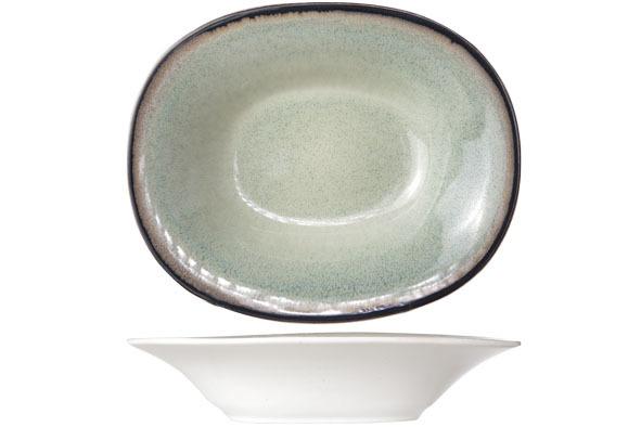 Тарелка для супа овальная 17,5х21,5 см COSY&amp;TRENDY Fez green 9212174Новинки<br>Эта коллекция из каменной керамики  поражает удивительным цветом, текстурой и формой. Насыщенный темно-зеленый оттенок с  волнистым рельефом погружают в песчаную лагуну. Органические края для дополнительного дизайна. Коллекция FEZ Green воссоздает исключительный внешний вид приготовленных блюд.<br>