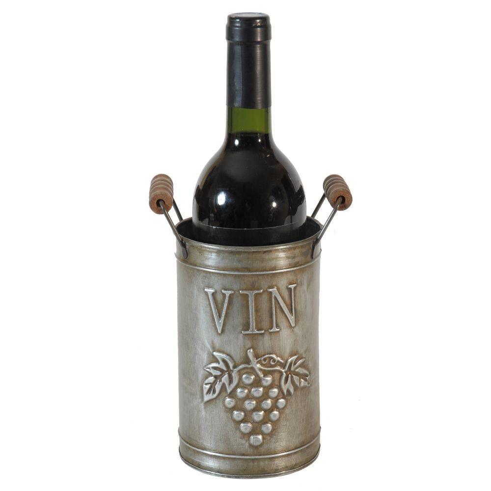 Ведерко для бутылки вина с ручками (Мебель и предметы интерьера)Мебель и предметы интерьера<br>Ведерко для бутылки вина с ручками<br>16x10 cm<br>Металл<br>Производитель: Antic Line, Франция<br>