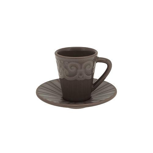 Кофейная чашка с блюдцем (эспрессо)  Фарфор и керамика Casa Alegre, Португалия<br>Кофейная чашка с блюдцем (эспрессо) Серия Коттедж<br>Материал: Керамика, цвет Серая Земля<br>Высота 80 мм, емкость 94 мл<br>Бренд: Casa Alegre<br>Производитель: Vista Alegre Atlantis, Португалия<br>