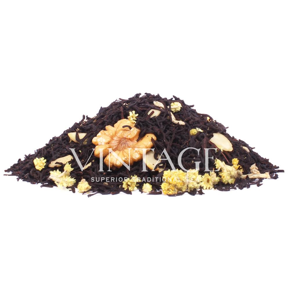 Щелкунчик (чай черный байховый ароматизированный листовой)Весовой чай<br>Щелкунчик (чай черный байховый ароматизированный листовой)<br><br><br><br><br><br><br><br><br><br>Время заваривания<br>Температура заваривания<br>Количество заварки<br><br><br><br>Рекомендуемое время заваривания 3-4мин.<br><br><br>Рекомендуемая температура заваривания 90-95 °С<br><br><br>Рекомендуемое количество заварки 4-5гр из расчета на 200-300мл.<br><br><br><br><br><br>Состав: цейлонский черный чай, кусочки грецких орехов, кусочки миндаля, цветы бессмертника.<br>Описание:по многочисленным запросам - цейлонский черный чай, кусочки грецких орехов, кусочки миндаля, цветы бессмертника – терпкий чай с мощным ярким вкусом грецкого ореха.<br>
