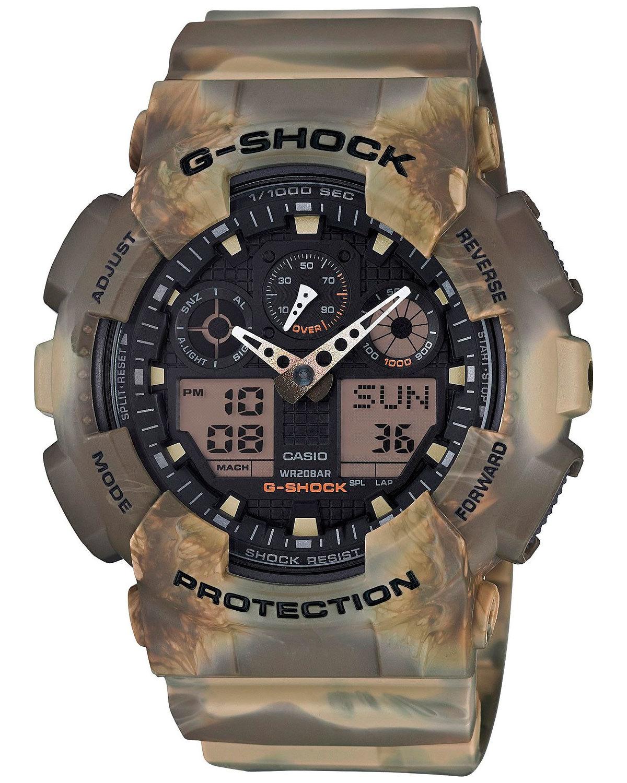 Casio G-SHOCK GA-100MM-5A / GA-100MM-5AER - мужские наручные часыCasio<br><br><br>Бренд: Casio<br>Модель: Casio GA-100MM-5A<br>Артикул: GA-100MM-5A<br>Вариант артикула: GA-100MM-5AER<br>Коллекция: G-SHOCK<br>Подколлекция: None<br>Страна: Япония<br>Пол: мужские<br>Тип механизма: кварцевые<br>Механизм: None<br>Количество камней: None<br>Автоподзавод: None<br>Источник энергии: от батарейки<br>Срок службы элемента питания: None<br>Дисплей: стрелки + цифры<br>Цифры: отсутствуют<br>Водозащита: WR 200<br>Противоударные: есть<br>Материал корпуса: пластик<br>Материал браслета: пластик<br>Материал безеля: None<br>Стекло: минеральное<br>Антибликовое покрытие: None<br>Цвет корпуса: None<br>Цвет браслета: None<br>Цвет циферблата: None<br>Цвет безеля: None<br>Размеры: 51.2x55x16.9 мм<br>Диаметр: None<br>Диаметр корпуса: None<br>Толщина: None<br>Ширина ремешка: None<br>Вес: 71 г<br>Спорт-функции: секундомер, таймер обратного отсчета<br>Подсветка: дисплея<br>Вставка: None<br>Отображение даты: вечный календарь, число, месяц, день недели<br>Хронограф: None<br>Таймер: None<br>Термометр: None<br>Хронометр: None<br>GPS: None<br>Радиосинхронизация: None<br>Барометр: None<br>Скелетон: None<br>Дополнительная информация: автоподсветка, повтор сигнала будильника, ежечасный сигнал, защитная функция антимагнит, элемент питания CR1220, срок службы батарейки 2 года<br>Дополнительные функции: второй часовой пояс, будильник (количество установок: 5)