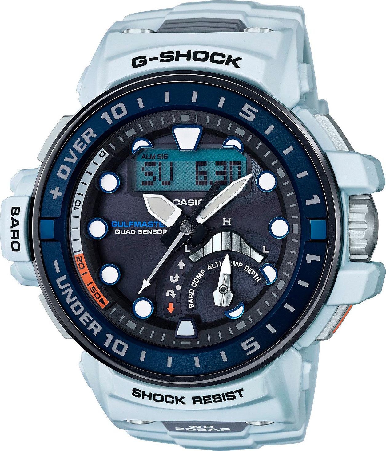 Casio G-SHOCK GWN-Q1000-7A / GWN-Q1000-7AER - мужские наручные часыCasio<br><br><br>Бренд: Casio<br>Модель: Casio GWN-Q1000-7A<br>Артикул: GWN-Q1000-7A<br>Вариант артикула: GWN-Q1000-7AER<br>Коллекция: G-SHOCK<br>Подколлекция: GULFMASTER<br>Страна: Япония<br>Пол: мужские<br>Тип механизма: кварцевые<br>Механизм: None<br>Количество камней: None<br>Автоподзавод: None<br>Источник энергии: от солнечной батареи<br>Срок службы элемента питания: 6 мес<br>Дисплей: стрелки + цифры<br>Цифры: отсутствуют<br>Водозащита: WR 200<br>Противоударные: есть<br>Материал корпуса: нерж. сталь + пластик, IP покрытие (частичное)<br>Материал браслета: пластик<br>Материал безеля: None<br>Стекло: сапфировое<br>Антибликовое покрытие: None<br>Цвет корпуса: None<br>Цвет браслета: None<br>Цвет циферблата: None<br>Цвет безеля: None<br>Размеры: 57.3x48x17 мм<br>Диаметр: None<br>Диаметр корпуса: None<br>Толщина: None<br>Ширина ремешка: None<br>Вес: 113 г<br>Спорт-функции: секундомер, таймер обратного отсчета, глубиномер, высотомер, барометр, термометр, компас<br>Подсветка: дисплея, стрелок<br>Вставка: None<br>Отображение даты: вечный календарь, число, месяц, день недели<br>Хронограф: есть<br>Таймер: None<br>Термометр: None<br>Хронометр: None<br>GPS: None<br>Радиосинхронизация: есть<br>Барометр: None<br>Скелетон: None<br>Дополнительная информация: отображение сведений о приливах и отливах, ежечасный сигнал, функция сохранения энергии, функция включения/отключения звука кнопок, функция перемещения стрелок; работоспособность в полной темноте до 21 месяцев в режиме сохранения энергии<br>Дополнительные функции: индикатор запаса хода, второй часовой пояс, указатель фаз Луны, время восхода и заката, будильник (количество установок: 5)