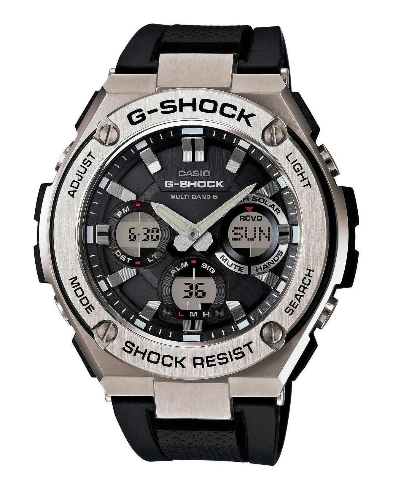 Casio G-SHOCK GST-W110-1A / GST-W110-1AER - мужские наручные часыCasio<br><br><br>Бренд: Casio<br>Модель: Casio GST-W110-1A<br>Артикул: GST-W110-1A<br>Вариант артикула: GST-W110-1AER<br>Коллекция: G-SHOCK<br>Подколлекция: None<br>Страна: Япония<br>Пол: мужские<br>Тип механизма: кварцевые<br>Механизм: None<br>Количество камней: None<br>Автоподзавод: None<br>Источник энергии: от батарейки<br>Срок службы элемента питания: None<br>Дисплей: стрелки + цифры<br>Цифры: None<br>Водозащита: WR 200<br>Противоударные: есть<br>Материал корпуса: сталь<br>Материал браслета: каучук<br>Материал безеля: None<br>Стекло: минеральное<br>Антибликовое покрытие: None<br>Цвет корпуса: None<br>Цвет браслета: None<br>Цвет циферблата: None<br>Цвет безеля: None<br>Размеры: 52.4x59.1x16.1 мм<br>Диаметр: None<br>Диаметр корпуса: None<br>Толщина: None<br>Ширина ремешка: None<br>Вес: 195 г<br>Спорт-функции: секундомер, таймер обратного отсчета<br>Подсветка: дисплея, стрелок<br>Вставка: None<br>Отображение даты: вечный календарь, число, месяц, день недели<br>Хронограф: None<br>Таймер: None<br>Термометр: None<br>Хронометр: None<br>GPS: None<br>Радиосинхронизация: None<br>Барометр: None<br>Скелетон: None<br>Дополнительная информация: None<br>Дополнительные функции: второй часовой пояс, будильник (количество установок: 5)