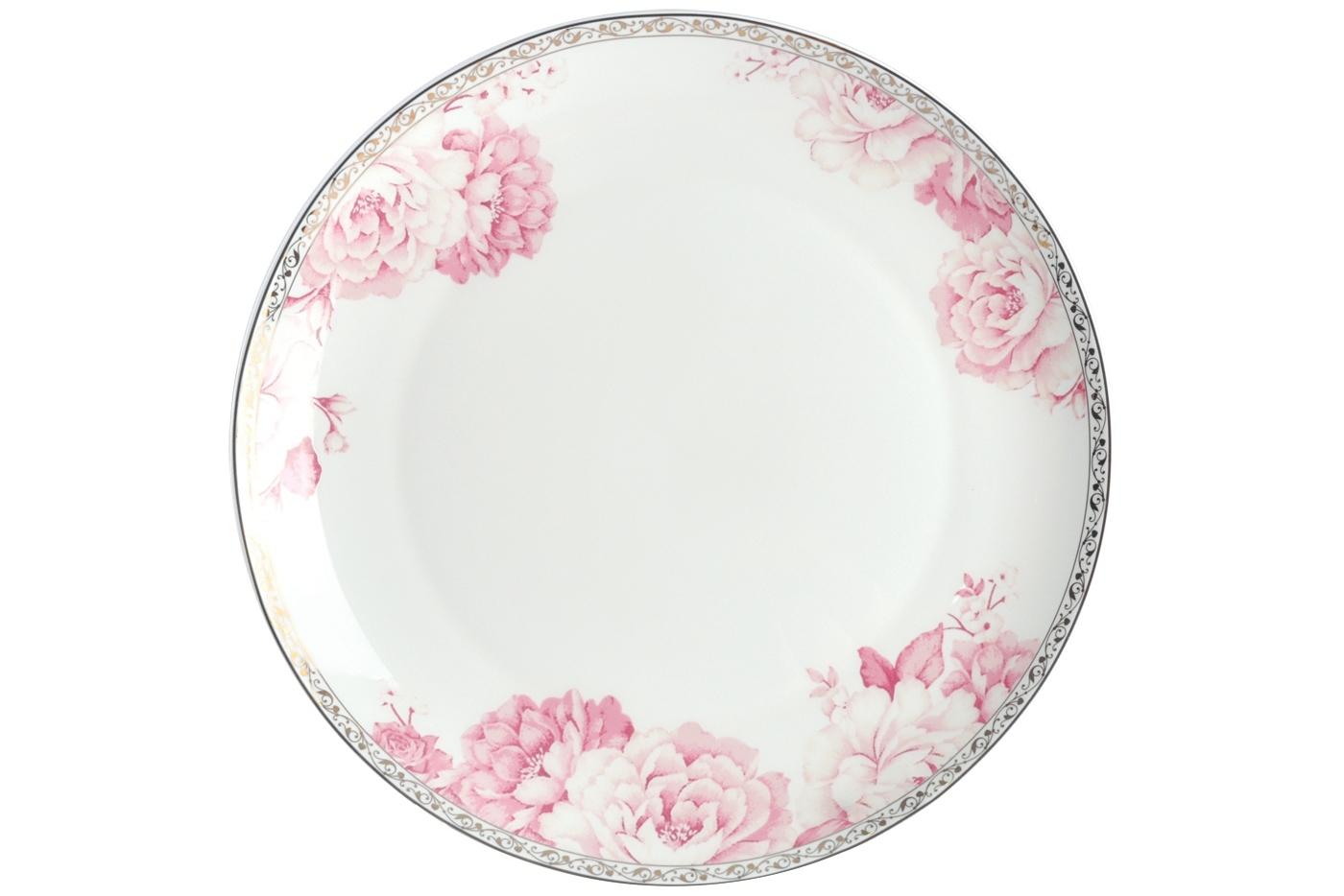Набор из 6 тарелок Royal Aurel Пион (25см) арт.628Наборы тарелок<br>Набор из 6 тарелок Royal Aurel Пион (25см) арт.628<br>Производить посуду из фарфора начали в Китае на стыке 6-7 веков. Неустанно совершенствуя и селективно отбирая сырье для производства посуды из фарфора, мастерам удалось добиться выдающихся характеристик фарфора: белизны и тонкостенности. В XV веке появился особый интерес к китайской фарфоровой посуде, так как в это время Европе возникла мода на самобытные китайские вещи. Роскошный китайский фарфор являлся изыском и был в новинку, поэтому он выступал в качестве подарка королям, а также знатным людям. Такой дорогой подарок был очень престижен и по праву являлся элитной посудой. Как известно из многочисленных исторических документов, в Европе китайские изделия из фарфора ценились практически как золото. <br>Проверка изделий из костяного фарфора на подлинность <br>По сравнению с производством других видов фарфора процесс производства изделий из настоящего костяного фарфора сложен и весьма длителен. Посуда из изящного фарфора - это элитная посуда, которая всегда ассоциируется с богатством, величием и благородством. Несмотря на небольшую толщину, фарфоровая посуда - это очень прочное изделие. Для демонстрации плотности и прочности фарфора можно легко коснуться предметов посуды из фарфора деревянной палочкой, и тогда мы услушим характерный металлический звон. В составе фарфоровой посуды присутствует костяная зола, благодаря чему она может быть намного тоньше (не более 2,5 мм) и легче твердого или мягкого фарфора. Безупречная белизна - ключевой признак отличия такого фарфора от других. Цвет обычного фарфора сероватый или ближе к голубоватому, а костяной фарфор будет всегда будет молочно-белого цвета. Характерная и немаловажная деталь - это невесомая прозрачность изделий из фарфора такая, что сквозь него проходит свет.<br>