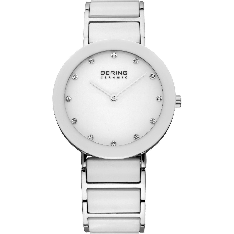 Bering 11435-754 - женские наручные часы из коллекции CeramicBering<br>сапфировое стекло, корпус из нерж. стали с безелем из керамики белого цвета,  браслет из нерж. стали со вставками из керамики белого цвета и 2-мя дополнительными звеньями в комплекте, циферблат белого цвета с 12-ю кристаллами  swarovski<br><br>Бренд: Bering<br>Модель: Bering 11435-754<br>Артикул: 11435-754<br>Вариант артикула: ber-11435-754<br>Коллекция: Ceramic<br>Подколлекция: None<br>Страна: Дания<br>Пол: женские<br>Тип механизма: кварцевые<br>Механизм: None<br>Количество камней: None<br>Автоподзавод: None<br>Источник энергии: от батарейки<br>Срок службы элемента питания: None<br>Дисплей: стрелки<br>Цифры: отсутствуют<br>Водозащита: WR 50<br>Противоударные: None<br>Материал корпуса: нерж. сталь + керамика<br>Материал браслета: нерж. сталь + керамика<br>Материал безеля: керамика<br>Стекло: сапфировое<br>Антибликовое покрытие: None<br>Цвет корпуса: серебристый<br>Цвет браслета: серебрянный<br>Цвет циферблата: None<br>Цвет безеля: белый<br>Размеры: 35 мм<br>Диаметр: 35 мм<br>Диаметр корпуса: None<br>Толщина: None<br>Ширина ремешка: None<br>Вес: None<br>Спорт-функции: None<br>Подсветка: None<br>Вставка: кристаллы Swarovski<br>Отображение даты: None<br>Хронограф: None<br>Таймер: None<br>Термометр: None<br>Хронометр: None<br>GPS: None<br>Радиосинхронизация: None<br>Барометр: None<br>Скелетон: None<br>Дополнительная информация: None<br>Дополнительные функции: None