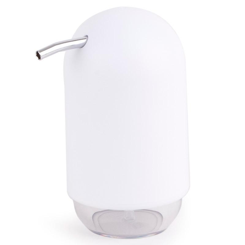 Диспенсер для мыла Umbra touch белый 023273-660Диспенсеры<br>Диспенсер для мыла Umbra touch белый 023273-660<br><br>Мыло душистое, полотенце пушистое - если мыть руки, то с этим слоганом. Потому что приятно пахнущее мыло, например, ванильное или земляничное, поднимает настроение. А если оно внутри красивого диспенсера, который поможет отмерить нужное количество, это вдвойне приятно. Те, кто покупает жидкое мыло, знают, что очень часто оно продается в некрасивых упаковках или очень больших бутылках, которые совершенно неудобно ставить на раковину. Проблема решена вот с таким лаконичным симпатичным диспенсером. Теперь вы не забудете вымыть руки перед едой! Обратите внимание на прозрачную нижнюю часть: благодаря ей вы сразу увидите, если мыло кончается, и сможете пополнить резервуар. Объем - 235 мл. p.s. Важная подсказка: диспенсер также можно использовать на кухне для моющего средства, получается очень экономно.<br>Официальный продавец<br>