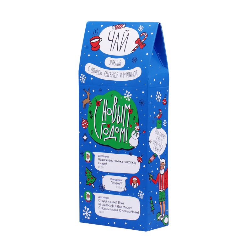 Зеленый чай «С новым годом!»  50 грДетям<br>Новогодний чай для друзей с ягодами и фруктами<br>Плодово-выгодный, чайно-ягодный, новогодне-праздничный микс в упаковке<br><br><br>Кому подарить: молодым, модным и смелым, с огромным чувством юмора и веселым характером.<br>Как заваривать: при температуре 80-85° в течении 3-5 минут.<br>Упаковка: экологически-чистый картон со смешным чатом по аналогу популярных месенджеров, прикольными статусами и пожеланиями на Новый год 2018.<br><br><br>Вес: 50 гр.<br>